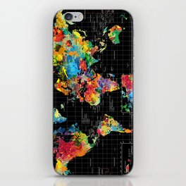 World Map Black - 1 iPhone Skin
