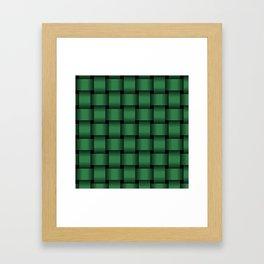 Large Dark Green Weave Framed Art Print