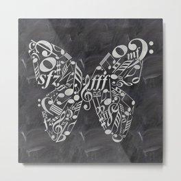 Music butterfly on chalkboard Metal Print