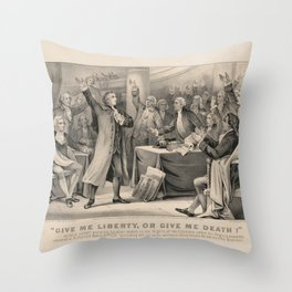 Give Me Liberty of Give Me Death Patrick Henry March 23rd, 1775 Throw Pillow