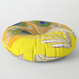 3 GREEN PEACOCK FEATHERS YELLOW ABSTRACT ART Floor Pillow
