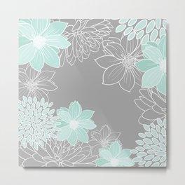 Floral Prints and Line Art, Gray and Teal Metal Print