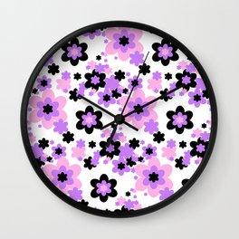 Pink Purple Black Floral Wall Clock
