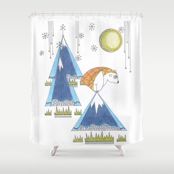 Whimsical Creature On Snowy Mountaintop Shower Curtain