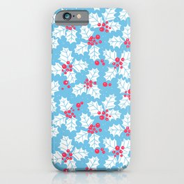 Holly berry, Christmas pattern iPhone Case