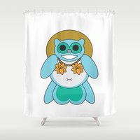 tina crespo Shower Curtains featuring Tina Tanuki by Sonya Saturday