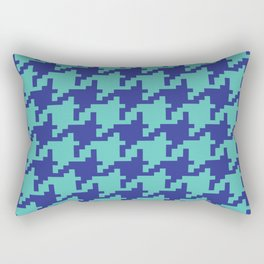 Houndstooth - Blue & Turquoise Rectangular Pillow