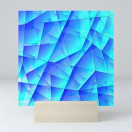 Abstract celestial pattern of blue and luminous plates of triangles and irregularly shaped lines. Mini Art Print