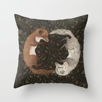 foxes Throw Pillows featuring Foxes by Jessica Roux