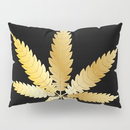 Gold Cannabis Leaf Pillow Sham
