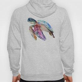 Sea Turtle, swimming turtle art, purple blue design animal art Hoody