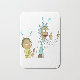 Rick and morty flipping the bird_vectorized Bath Mat
