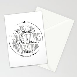 Hand Written Typography of Jeremiah 29:11 Stationery Cards