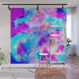 Modern hand painted neon pink teal abstract watercolor Wall Mural
