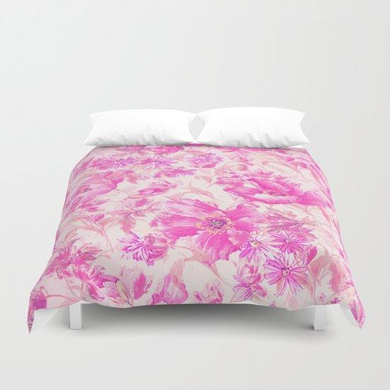 simple pink flowers Duvet Cover