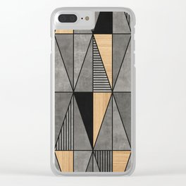 Concrete and Wood Triangles Clear iPhone Case