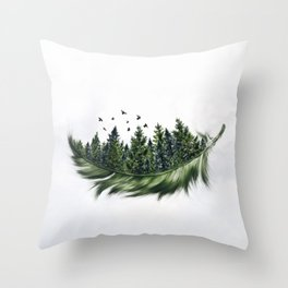 Earth Feather • Green Feather (horizontal) Throw Pillow