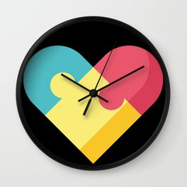Autism Awareness Colorful Heart graphic Gift for Mom Wall Clock