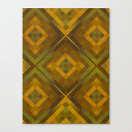 twyla - gold green brown textured geometric pattern Canvas Print