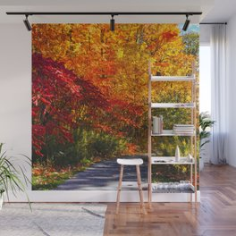 Paved Autumn Path Wall Mural