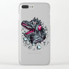 Arsenic Druck Dino with Headphones Clear iPhone Case