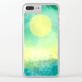 Yellow Moon, Emerald Sky, Blue Water Clear iPhone Case