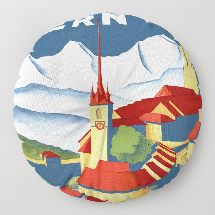 Vintage Bern Switzerland Travel Floor Pillow