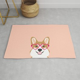Corgi Love - Valentines heart shaped glasses on funny dog for dog lovers pet gifts customizable dog  Rug