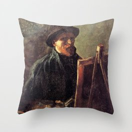 Self-Portrait with Dark Felt Hat at the Easel by Vincent van Gogh Throw Pillow