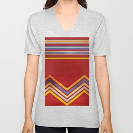 Stripes and Chevrons Ethic Pattern Unisex V-Neck