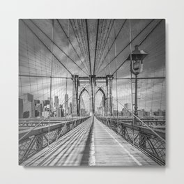 NEW YORK CITY Brooklyn Bridge | Monochrome Metal Print