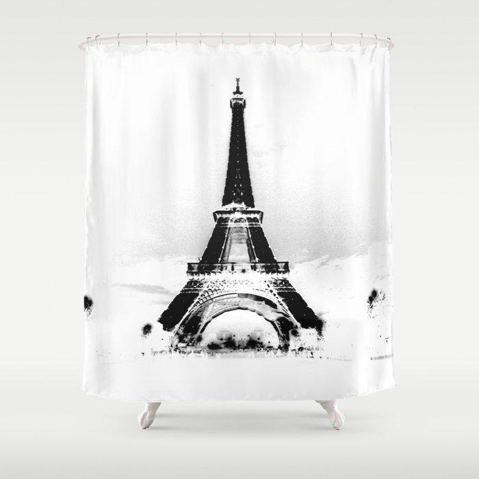 Paris Eiffel ToweR Black White Shower Curtain By Vintageby2sweet