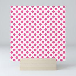 Pink polkadots dots circles on white background Mini Art Print