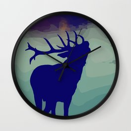 Belling/Bellowing/Howling Stag/Deer / fallcollection / holidays silhoutte / scandinavian style Wall Clock