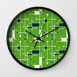 Intersecting Lines in Lime Green, Navy and White Wall Clock