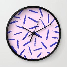 Crayon Scribble Pattern Pink Blue Wall Clock