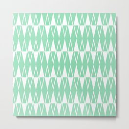 Mid Century Modern Diamond Pattern Mint Green 234 Metal Print