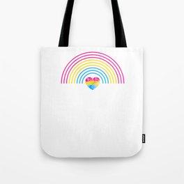 Pansexual Heart Rainbow graphic LGBTQ Pride Gift Idea Tote Bag