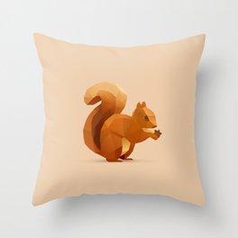 Geometric Red Squirel - Modern Animal Art Throw Pillow