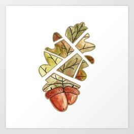 Oak leaf and acorns Art Print