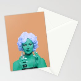 Pop art lady smoking and drinking green skin and orange background Stationery Cards