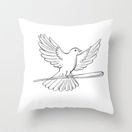 Pigeon or Dove Flying With Cane Drawing Throw Pillow