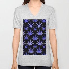 Marijuana Violet Blue Weed Unisex V-Neck