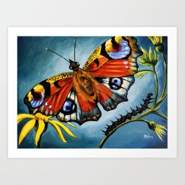 Peacock Butterfly & Caterpillar Art Print Art Print
