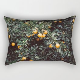 Oranges | Moody colorful travel photography | Botanical green wall with oranges Rectangular Pillow