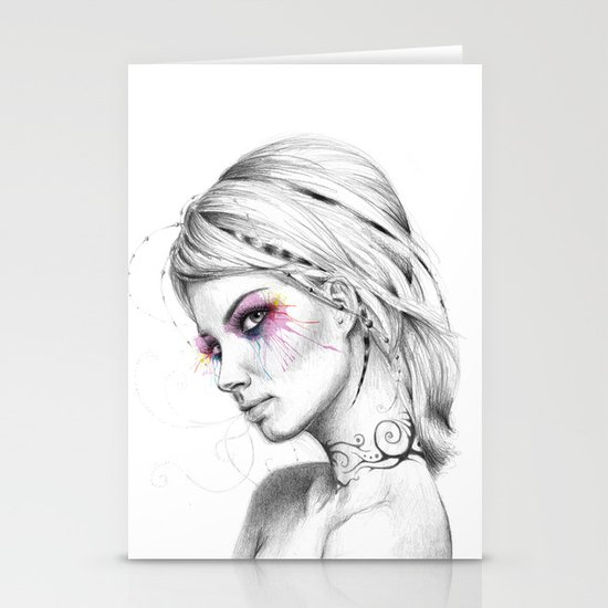 Beautiful Girl with Tattoos and Colorful Eyes Stationery Cards