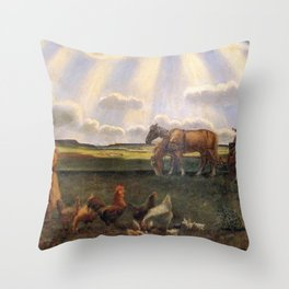 Columns of Sun over the Family Homestead on the American Plains by John Steuart Curry Throw Pillow
