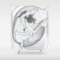 couple Shower Curtains featuring couple by sabrina.gennari