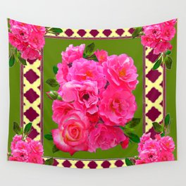 VIBRANT PINK ROSES ON MOSS GREEN PATTERN Wall Tapestry
