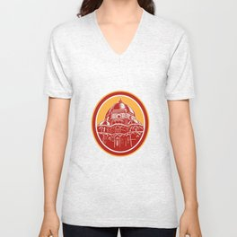 Dome of Florence Cathedral Front Woodcut Unisex V-Neck
